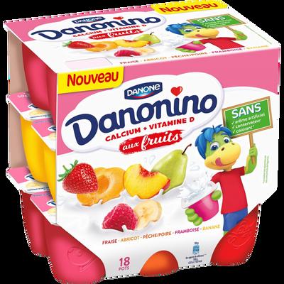 Fromage frais 2,10% de matière grasse aux fruits panachés DANONINO, 18x50g