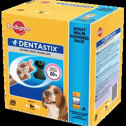 Friandise Dentastix pour moyens chiens PEDIGREE, sticks x56 soit 1,44Kg