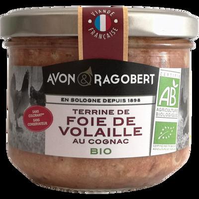 Terrine de foie de volailles au cognac BIO AVON & RAGOBERT, verrine de180g