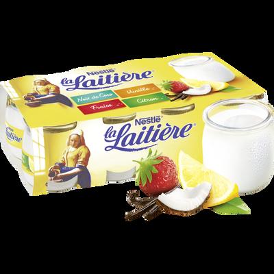 Yaourt lait entier panaché Ma Recette LA LAITIERE, pot en verre 8x125g
