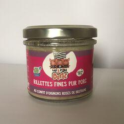 Rillettes fines aux oignons rosés de Bretagne, LES 3 P'TITS DUROC, terrine de 90G
