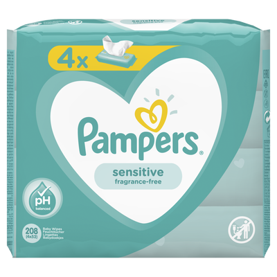 Lingettes sensitive PAMPERS 4x52