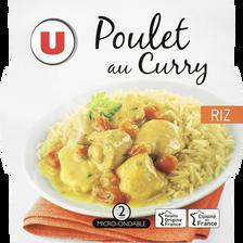 Emincé de poulet au curry et riz U, barquette de 300g