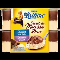 Secret de mousse duo chocolat lait/chocolat blanc LA LAITIERE, 4x59g