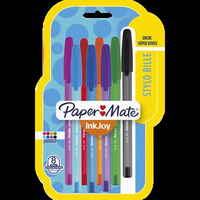 Stylo bille INKJOY 100 PAPERMATE, pointe moyenne, coloris fun assortis, 8 unités