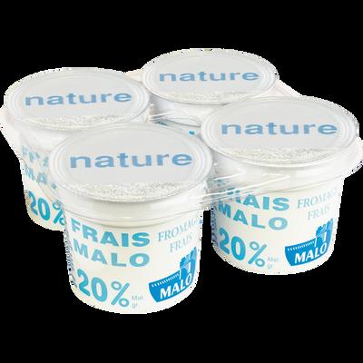Fromage frais nature, MALO, 20% de MG, 4x100g