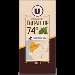 Tablette de chocolat noir 74% de cacao d'Equateur U, 100g