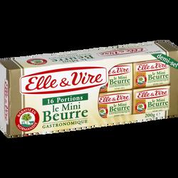 Mini beurre demi-sel ELLE & VIRE,  80%mg, 16x12,5g