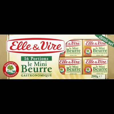 Mini beurre demi-sel ELLE & VIRE, 80% de MG, x16 soit 200g