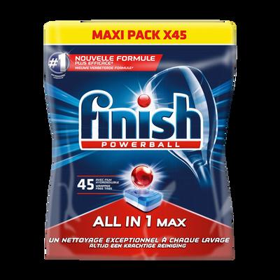 Tablettes pour lave vaiselle tout en 1 Powerball FINISH, 45 unités