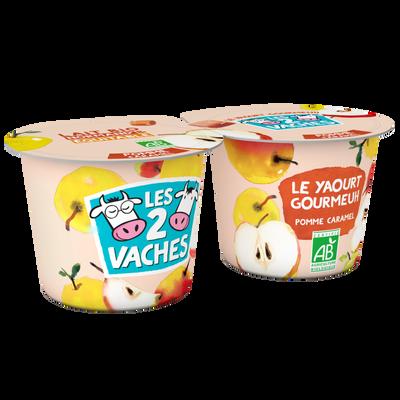 Yaourt brassé bio sucré pommes caramel LES 2 VACHES, 2x115g