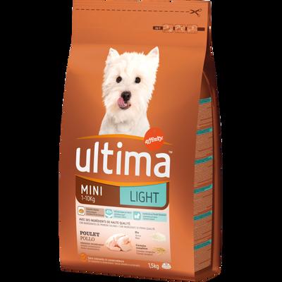Croquettes pour chien mini light au poulet ULTIMA, sac de 1,5kg