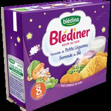 Soupe infantile farandole de légumes et semoule de blé BLEDINER, dès 8mois BLEDINA, 2x250ml