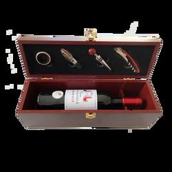 Coffret bois Bordeaux, 1x75cl + 4 accessoires