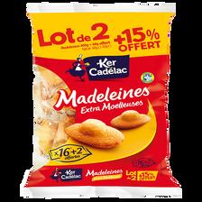 Ker Cadélac Madeleines Moelleuses Extra , Sachet 2x400g + 15% Offerts