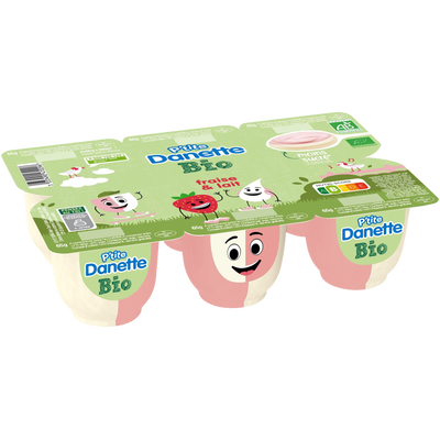 Dessert lacté a la fraise/lait bio p'tite DANETTE, 6x65g 390g