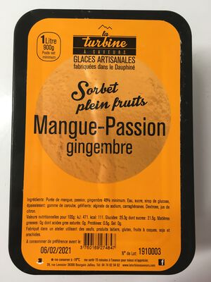 SORBET ARTISANAL MANGUE-PASSION-GINGEMBRE