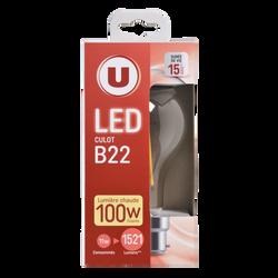 Led U, ronde, 100w, b22, transparent, lumière chaude