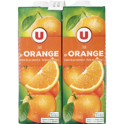 Jus à base de concentré orange, U, 4 briques de 1l