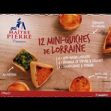 Mini quiches de Lorraine MAITRE PIERRE, 12 pièces, 216g