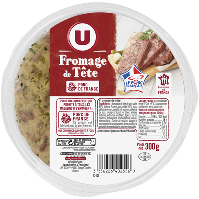 Fromage de tête viande de porc français U, 300g