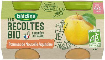 Compotes bébé bio pommes nouvelles d'Aquitaine dès 4/6 mois BLEDINA, les 2 pots de 130g