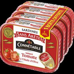 Sardines sans arêtes sauce tomate huile d'olive CONNETABL, 3 boîte+1 offert