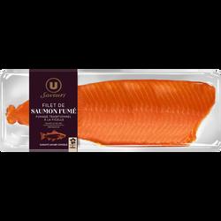 Filet de saumon fumé à la ficelle prétranché Saveurs U, 700g