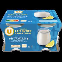 Yaourt au lait entier parf.citron U pot verre 4x125g