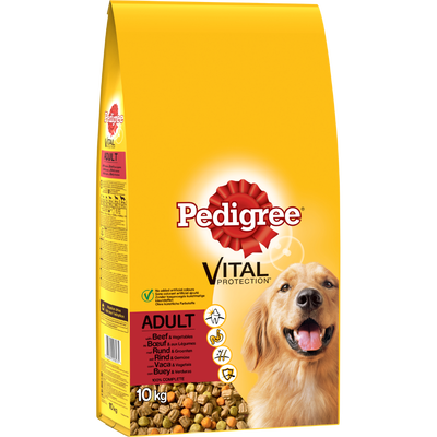 Croquettes pour chien adulte au boeuf et aux légumes PEDIGREE, 10kg