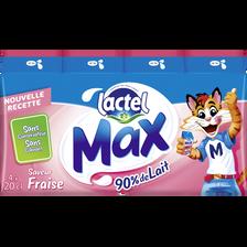 Boisson lactée UHT aromatisée fraise LACTEL MAX, 4x20cl