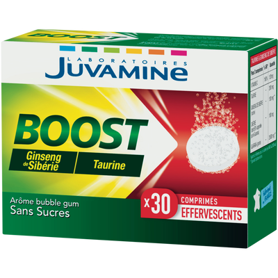 JUVAMINE BOOST GINSENG TAURINE, 30 comprimés effervescents