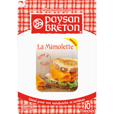 Mimolette lait pasteurisé PAYSAN BRETON, 23,9% de MG, 10 tranches,160g
