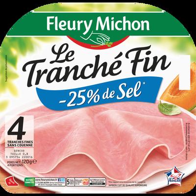 Jambon fin italien teneur en sel réduit FLEURY MICHON, 4 tranches, 120g