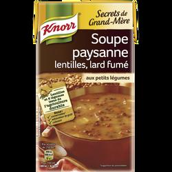 Soupe paysanne lentilles,lard fumé petits légumes KNORR, 1 litre