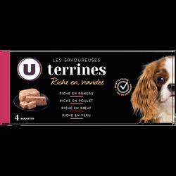 Terrines savoureuses aux viandes et aux légumes pour chien U, 4x150g