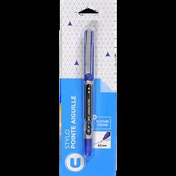 Stylo pointe aiguille U bleu-blister pet