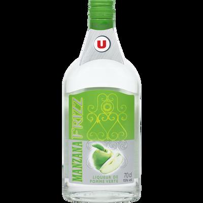 Liqueur Frizz saveur pomme U, 15°, bouteille de 70cl