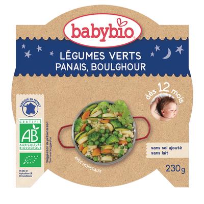 Assiette de légumes vert, panais du val de loire, boulghour BABYBIO, dès 12 mois, 230g
