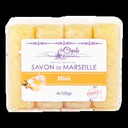 Savons de Marseille au miel LA CIGALE, 4x100g