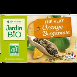 Thé vert JARDIN BIO, Orange Bergamote, x20