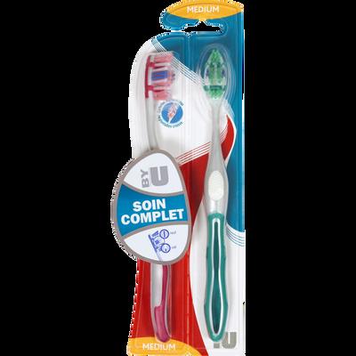 Brosse à dents soin complet médium U, x2