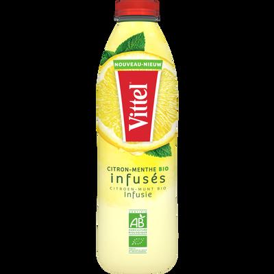 Eau minérale naturel citron menthe infusés bio VITTEL, bouteille de 1l