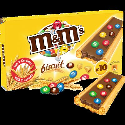Barres chocolat biscuit M&M'S, pack de 10, 198g