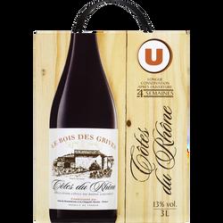 Vin rouge AOP Côtes du Rhone Le Bois des Grives U, fontaine à vin de 3l