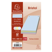 Exacompta Fiches Perforées Bristol, 12,5x20 Cm, Couleur, Pack De 100