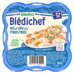 BLEDICHEF riz et lieu à la forestière d.12mois Blédina 230g