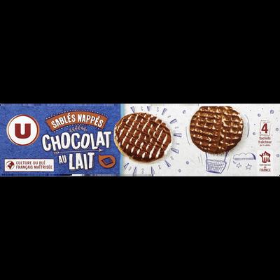 Sablés nappés au chocolat au lait U, étui de 200g