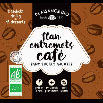 Entremets non sucré café bio PLAISANCE BIO,  8 sachets, 1/4 litre, 40g
