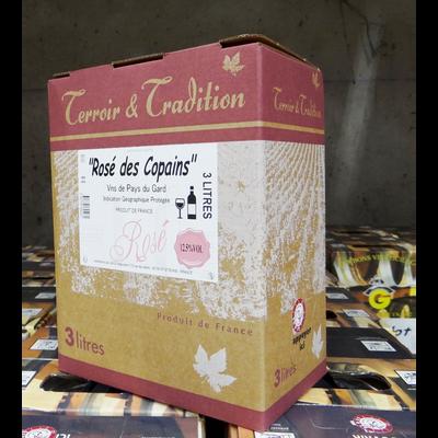 """Vin rosé du pays du Gard """"Rosé des copains"""" IGP, bib 3l"""